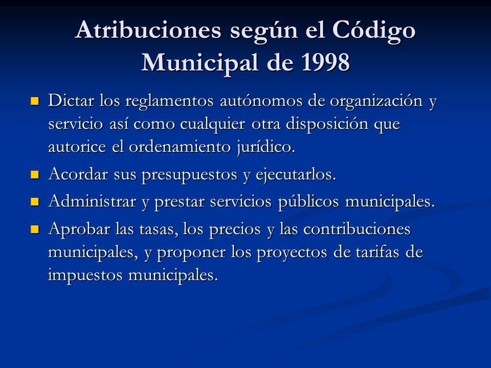 Atribuciones según el Código Municipal de 1998