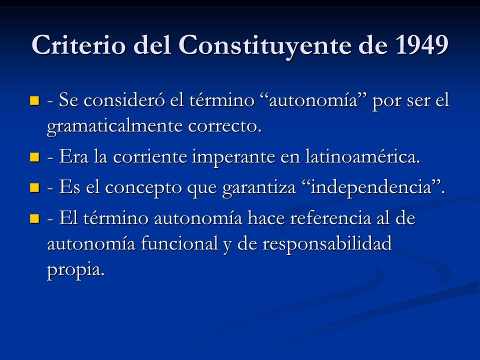 Criterio del Constituyente de 1949