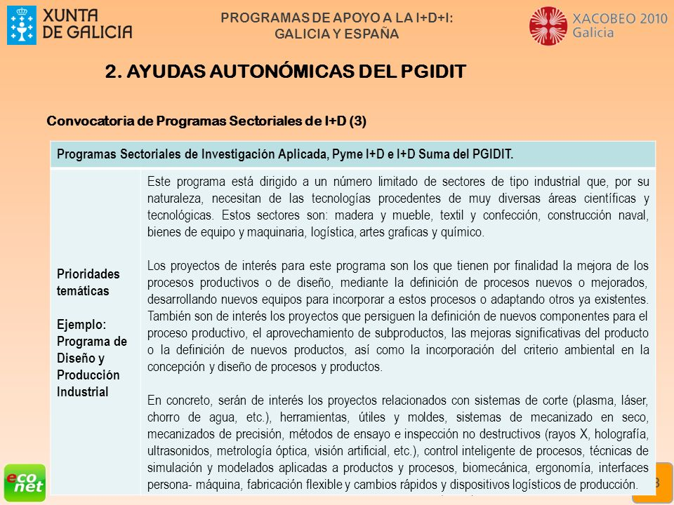 2. AYUDAS AUTONÓMICAS DEL PGIDIT