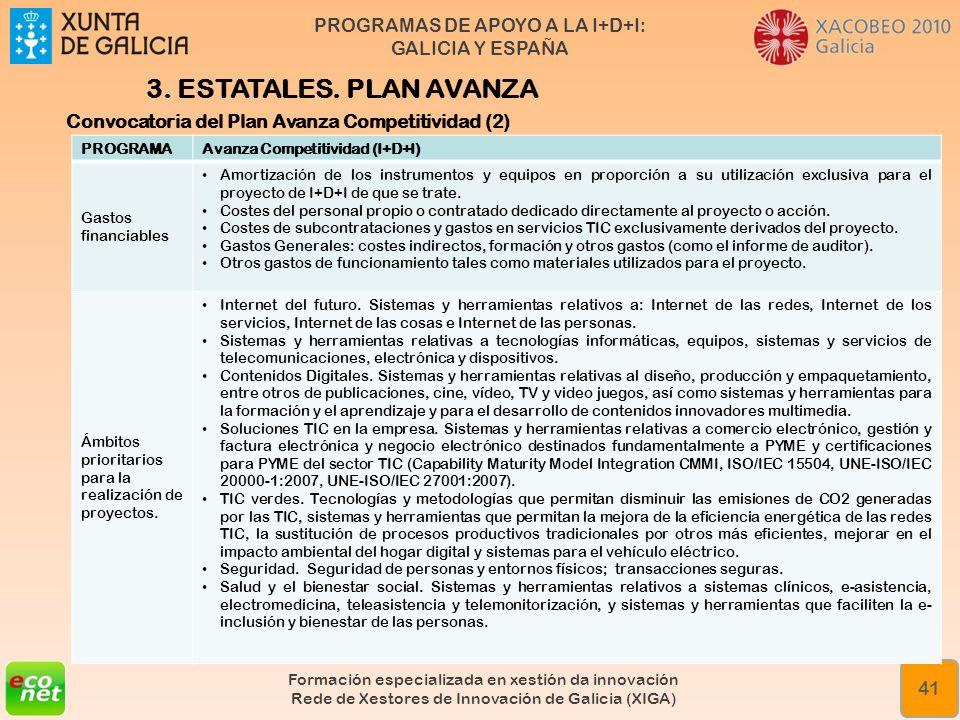 3. ESTATALES. PLAN AVANZA Convocatoria del Plan Avanza Competitividad (2) PROGRAMA. Avanza Competitividad (I+D+I)