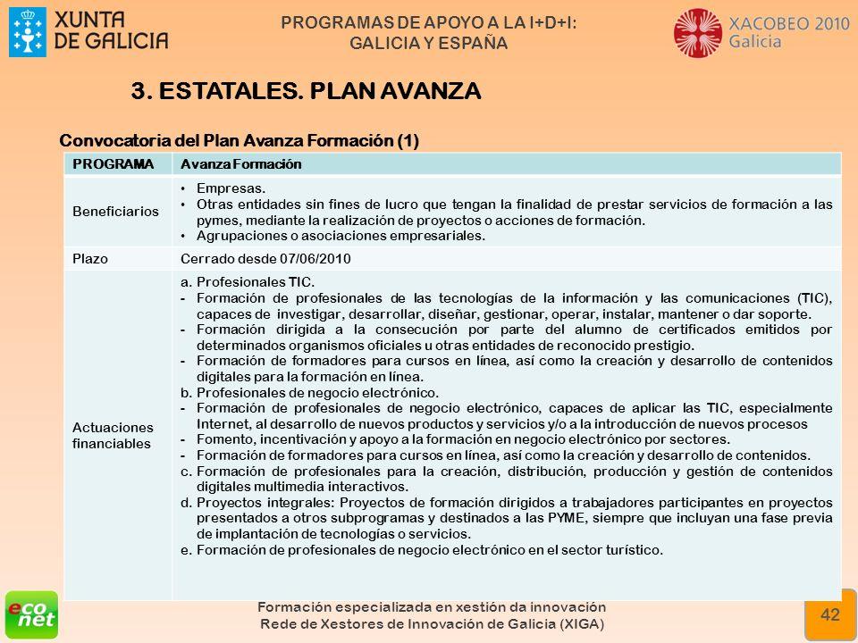 3. ESTATALES. PLAN AVANZA Convocatoria del Plan Avanza Formación (1)