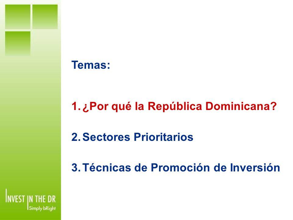 Temas: ¿Por qué la República Dominicana Sectores Prioritarios Técnicas de Promoción de Inversión