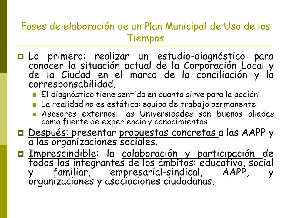 Fases de elaboración de un Plan Municipal de Uso de los Tiempos