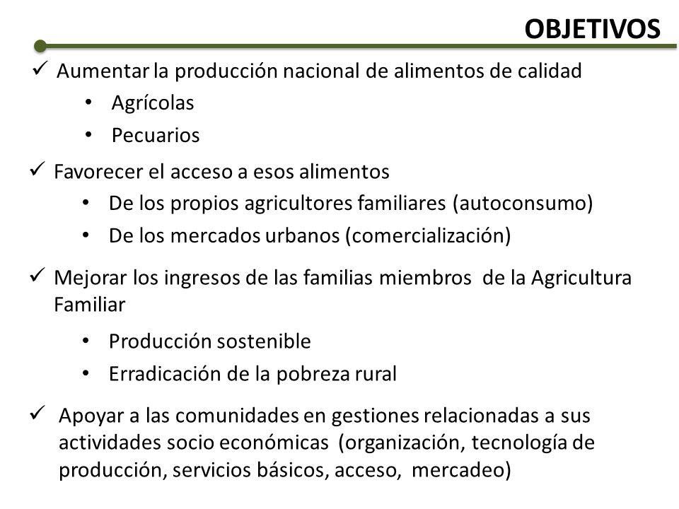 OBJETIVOS Aumentar la producción nacional de alimentos de calidad