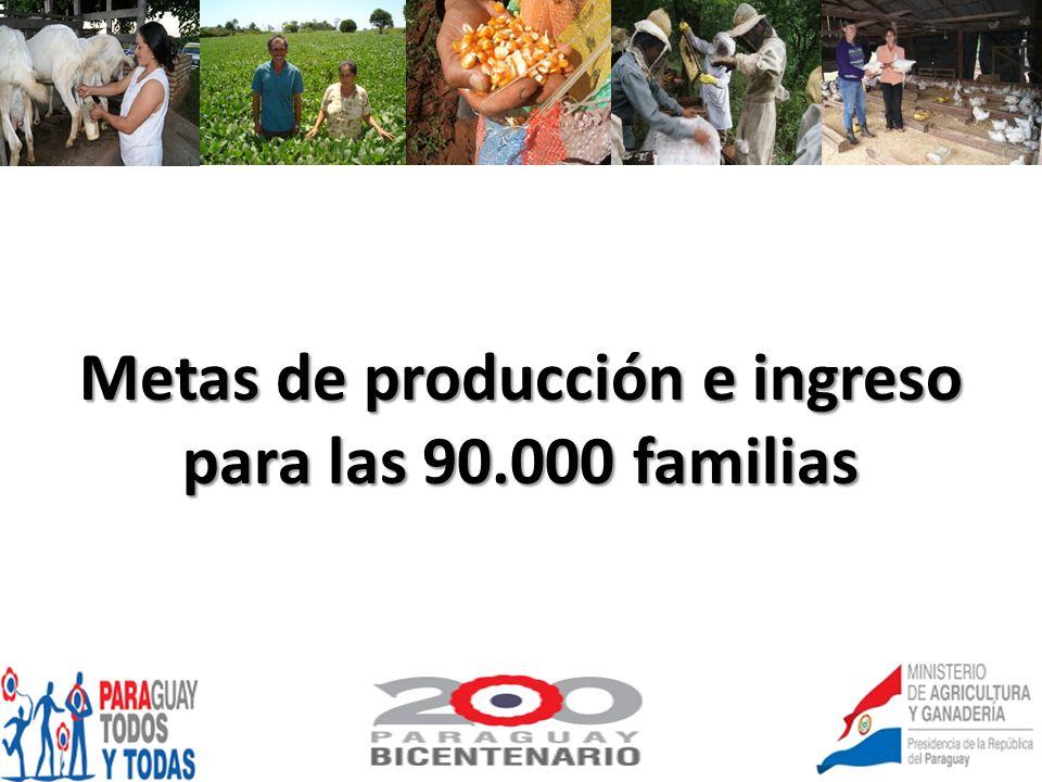 Metas de producción e ingreso para las 90.000 familias