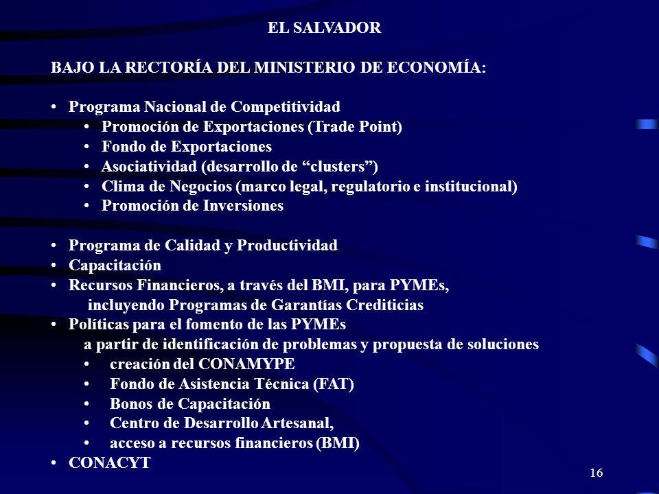 EL SALVADOR BAJO LA RECTORÍA DEL MINISTERIO DE ECONOMÍA: Programa Nacional de Competitividad. Promoción de Exportaciones (Trade Point)