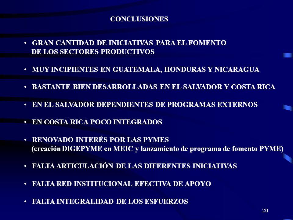 CONCLUSIONES GRAN CANTIDAD DE INICIATIVAS PARA EL FOMENTO. DE LOS SECTORES PRODUCTIVOS. MUY INCIPIENTES EN GUATEMALA, HONDURAS Y NICARAGUA.