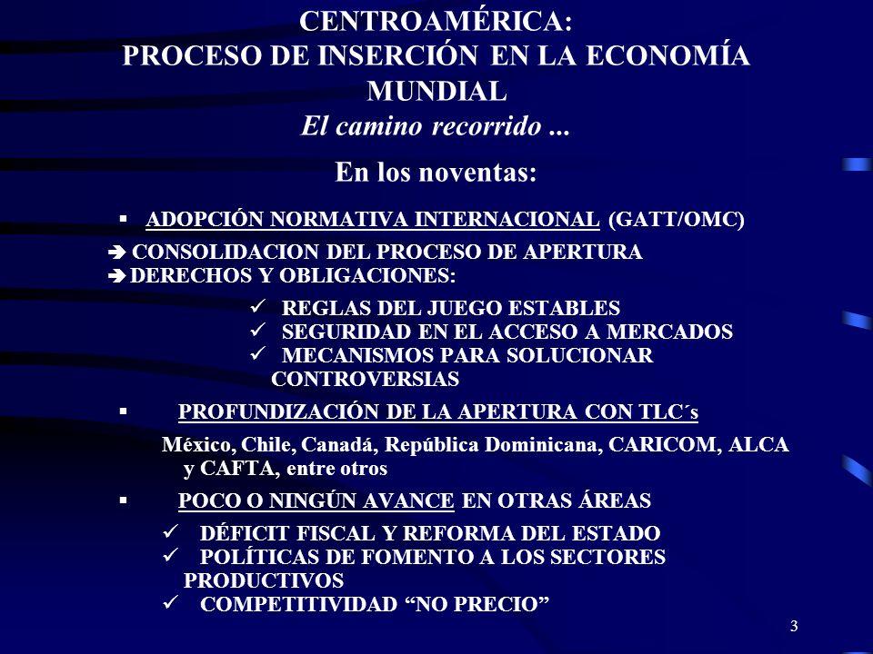 CENTROAMÉRICA: PROCESO DE INSERCIÓN EN LA ECONOMÍA MUNDIAL El camino recorrido ... En los noventas: