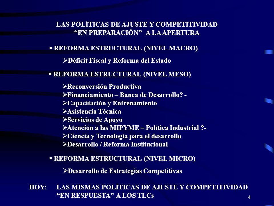 LAS POLÍTICAS DE AJUSTE Y COMPETITIVIDAD