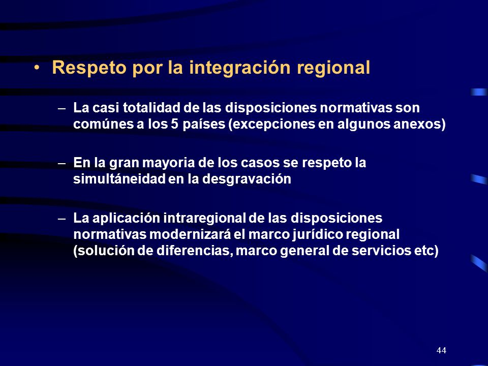 Respeto por la integración regional