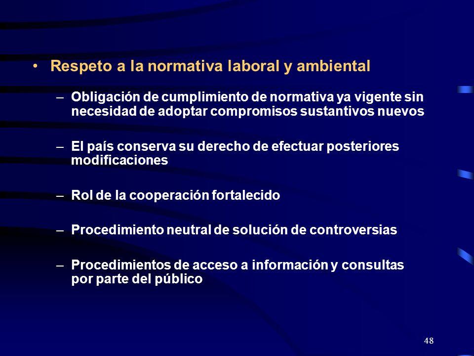 Respeto a la normativa laboral y ambiental