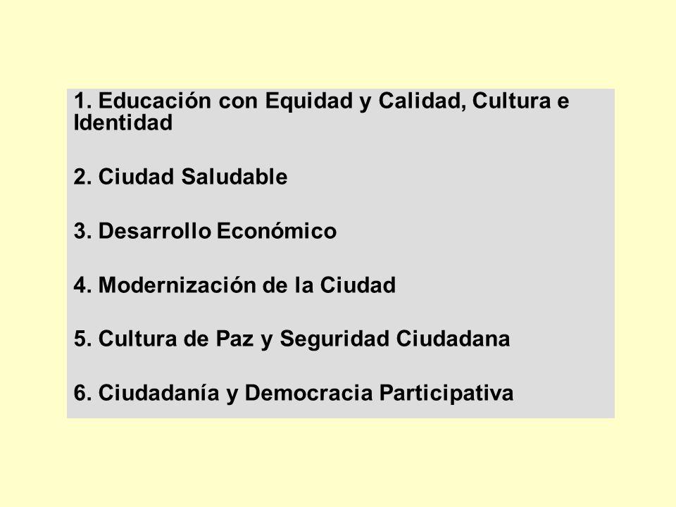 1. Educación con Equidad y Calidad, Cultura e Identidad