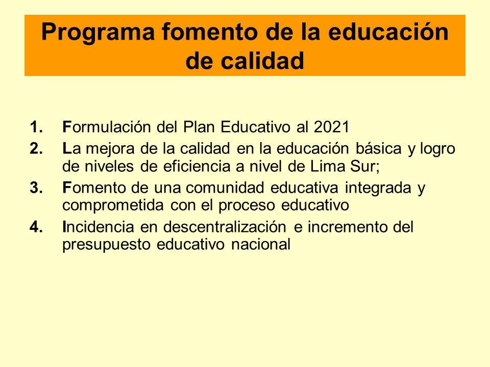 Programa fomento de la educación de calidad