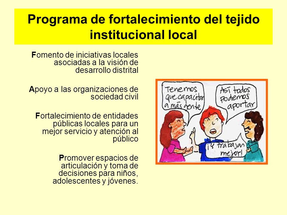Programa de fortalecimiento del tejido institucional local