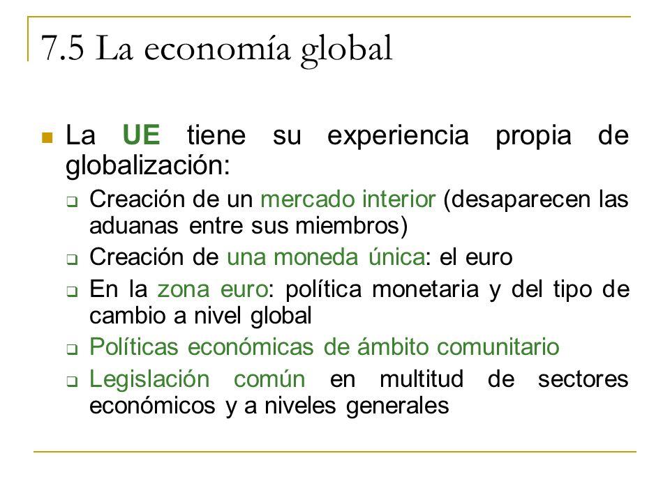 7.5 La economía global La UE tiene su experiencia propia de globalización: