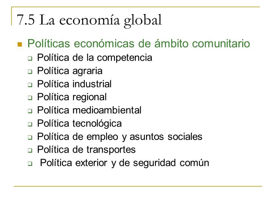 7.5 La economía global Políticas económicas de ámbito comunitario