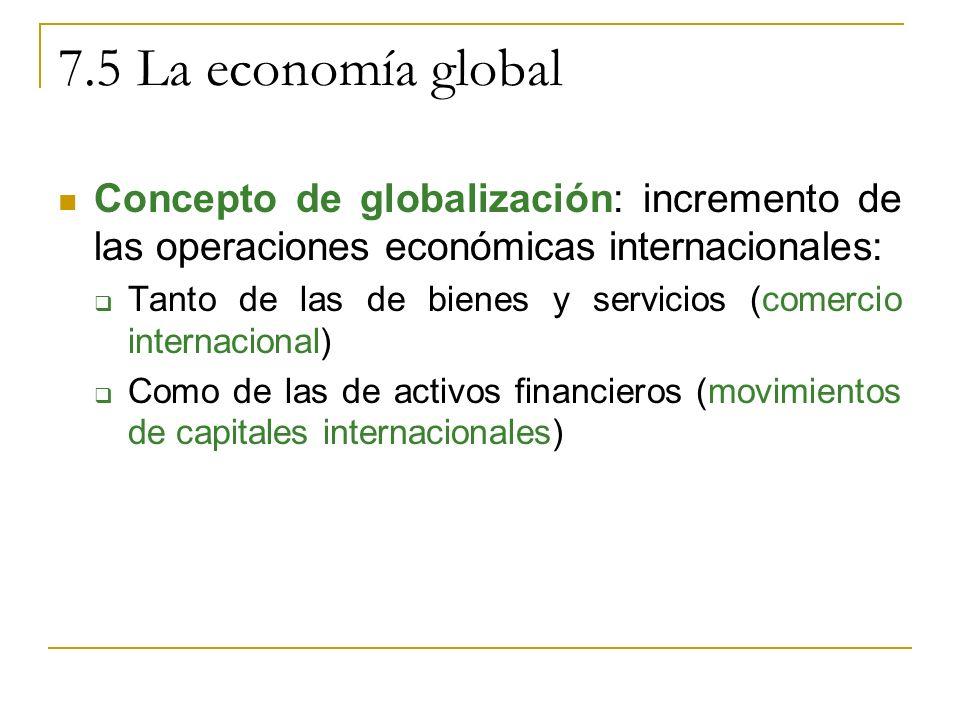 7.5 La economía global Concepto de globalización: incremento de las operaciones económicas internacionales: