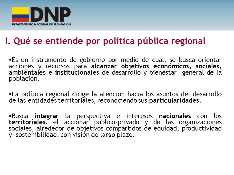 I. Qué se entiende por política pública regional