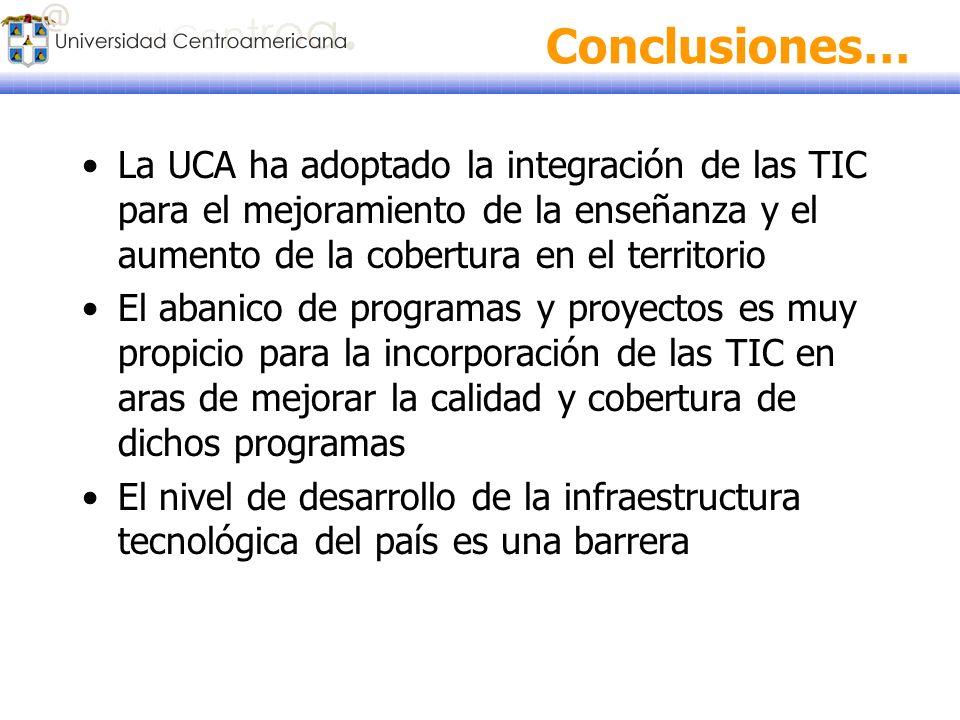 Conclusiones… La UCA ha adoptado la integración de las TIC para el mejoramiento de la enseñanza y el aumento de la cobertura en el territorio.