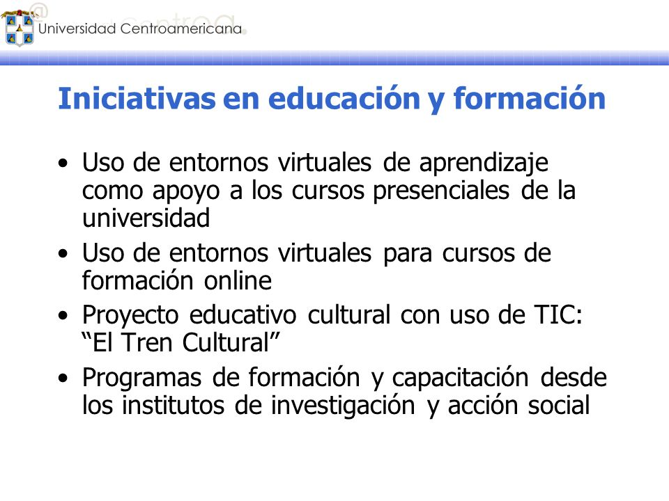 Iniciativas en educación y formación