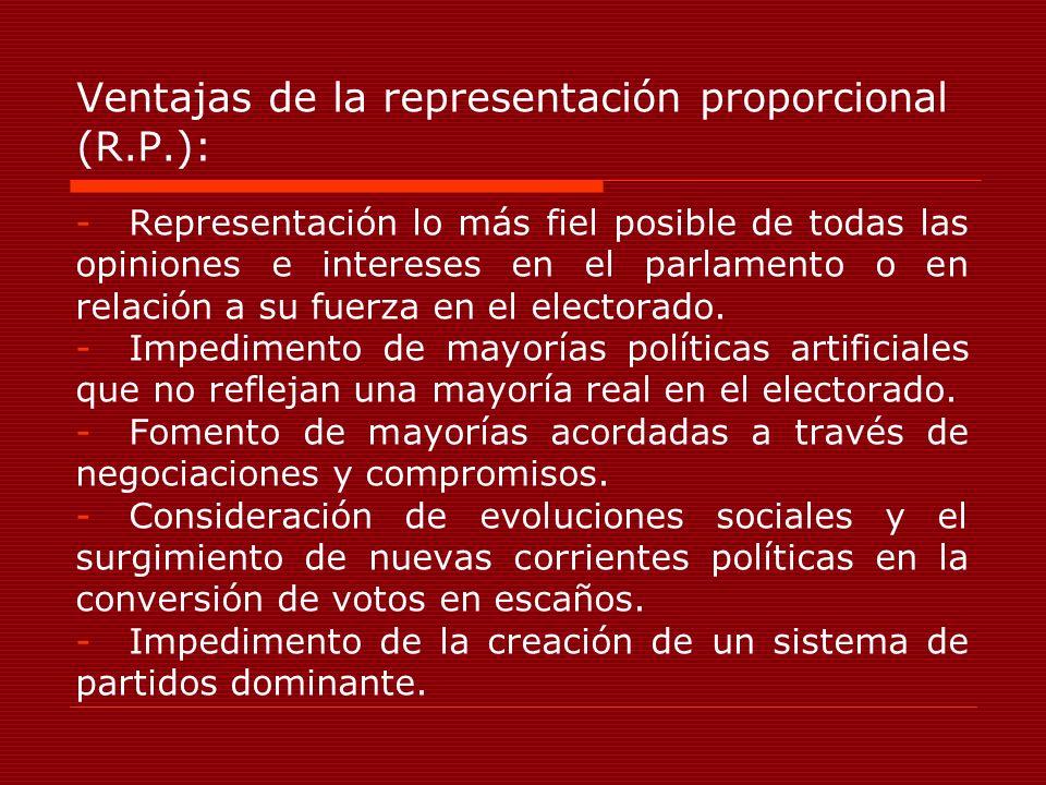 Ventajas de la representación proporcional (R.P.):