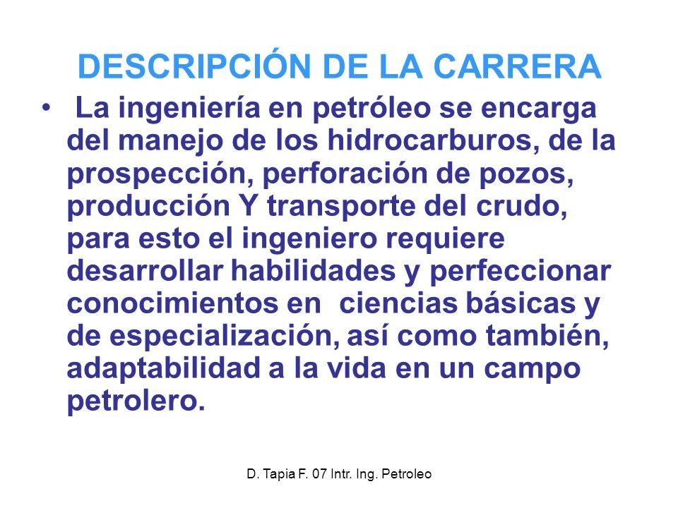 DESCRIPCIÓN DE LA CARRERA