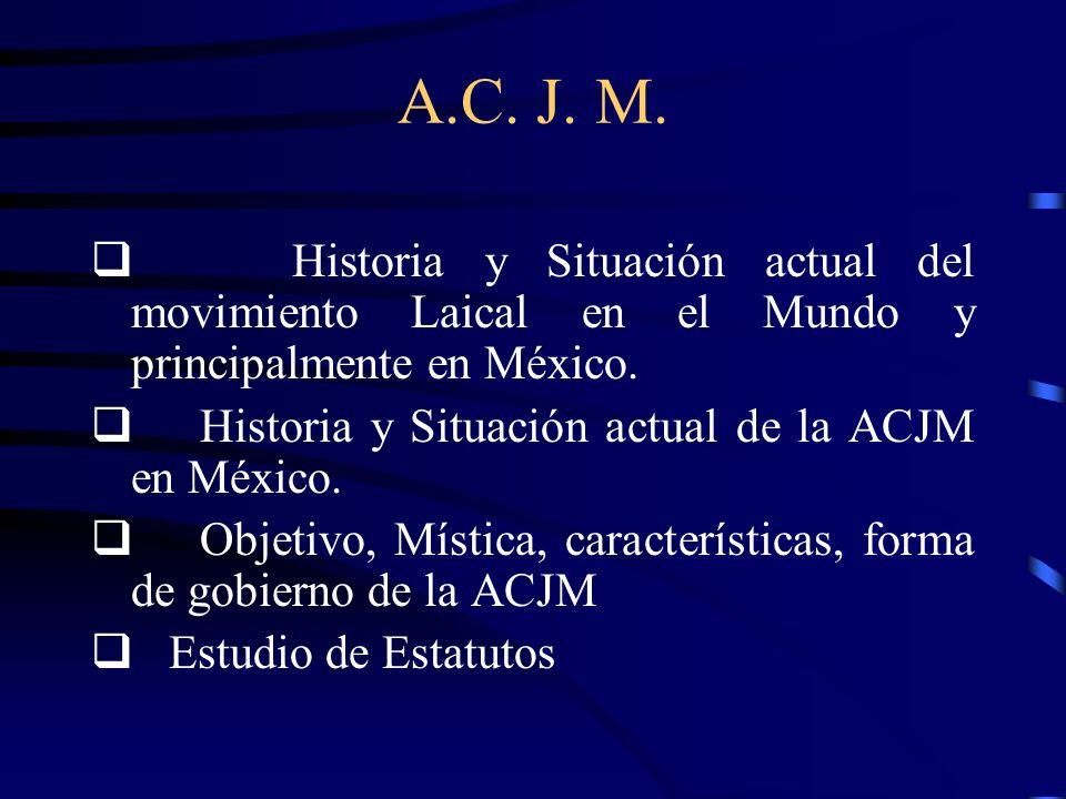 A.C. J. M. q Historia y Situación actual del movimiento Laical en el Mundo y principalmente en México.