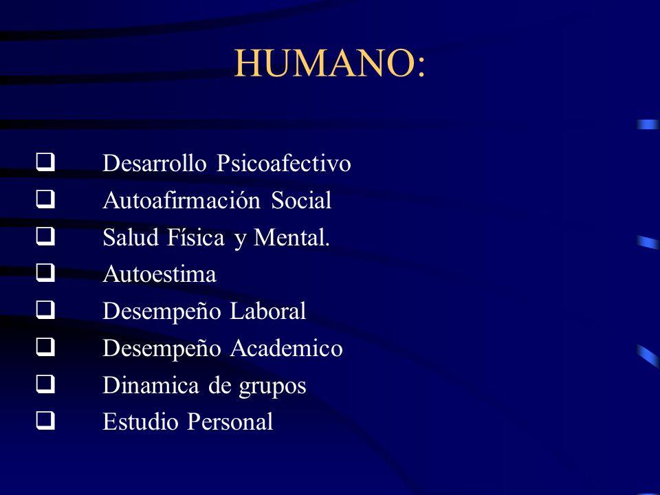 HUMANO: q Desarrollo Psicoafectivo q Autoafirmación Social