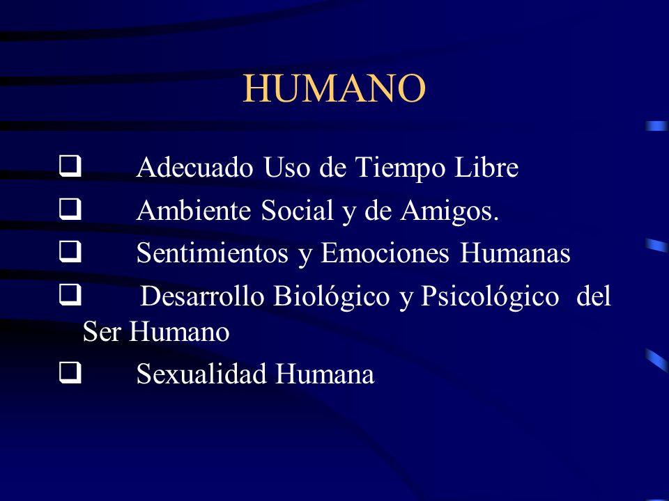 HUMANO q Adecuado Uso de Tiempo Libre q Ambiente Social y de Amigos.