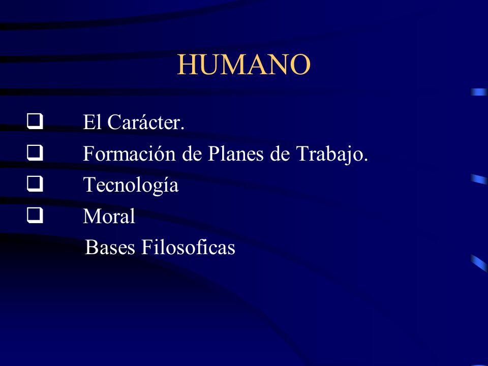 HUMANO q El Carácter. q Formación de Planes de Trabajo. q Tecnología