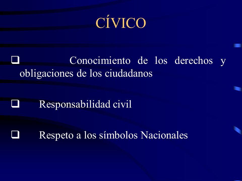 CÍVICO q Conocimiento de los derechos y obligaciones de los ciudadanos