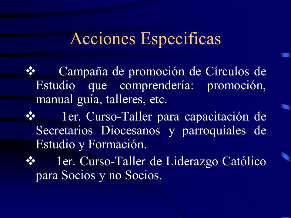 Acciones Especificas v Campaña de promoción de Círculos de Estudio que comprendería: promoción, manual guía, talleres, etc.