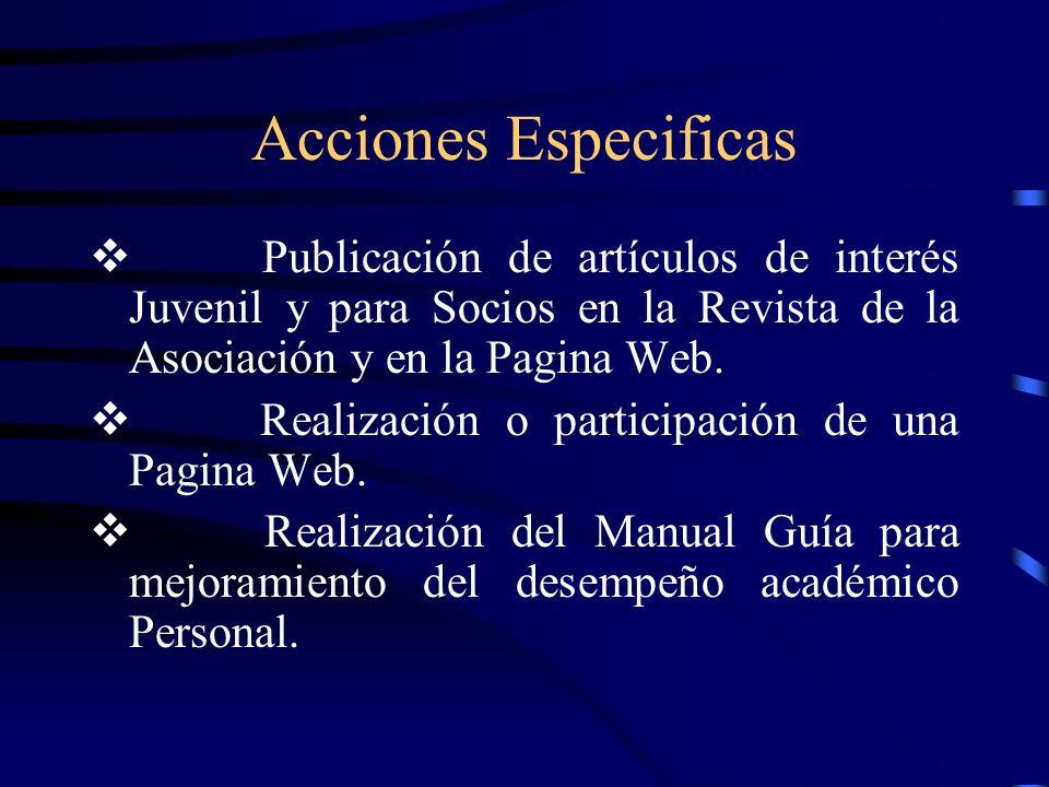 Acciones Especificas v Publicación de artículos de interés Juvenil y para Socios en la Revista de la Asociación y en la Pagina Web.