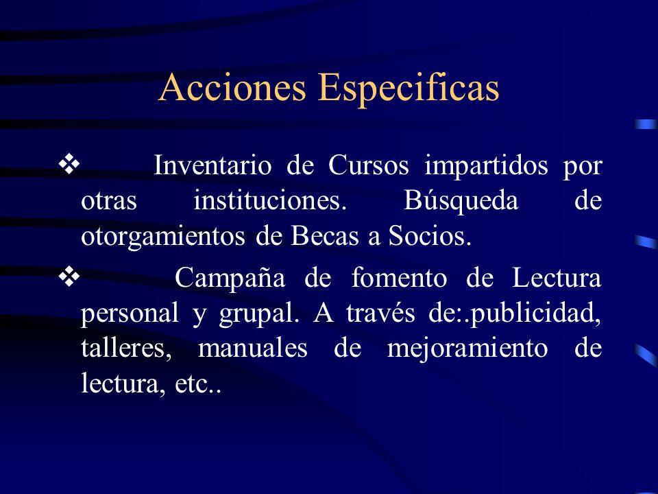 Acciones Especificas v Inventario de Cursos impartidos por otras instituciones. Búsqueda de otorgamientos de Becas a Socios.