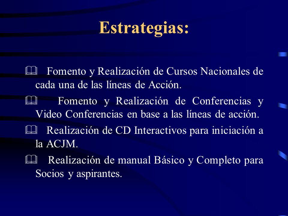 Estrategias: & Fomento y Realización de Cursos Nacionales de cada una de las líneas de Acción.