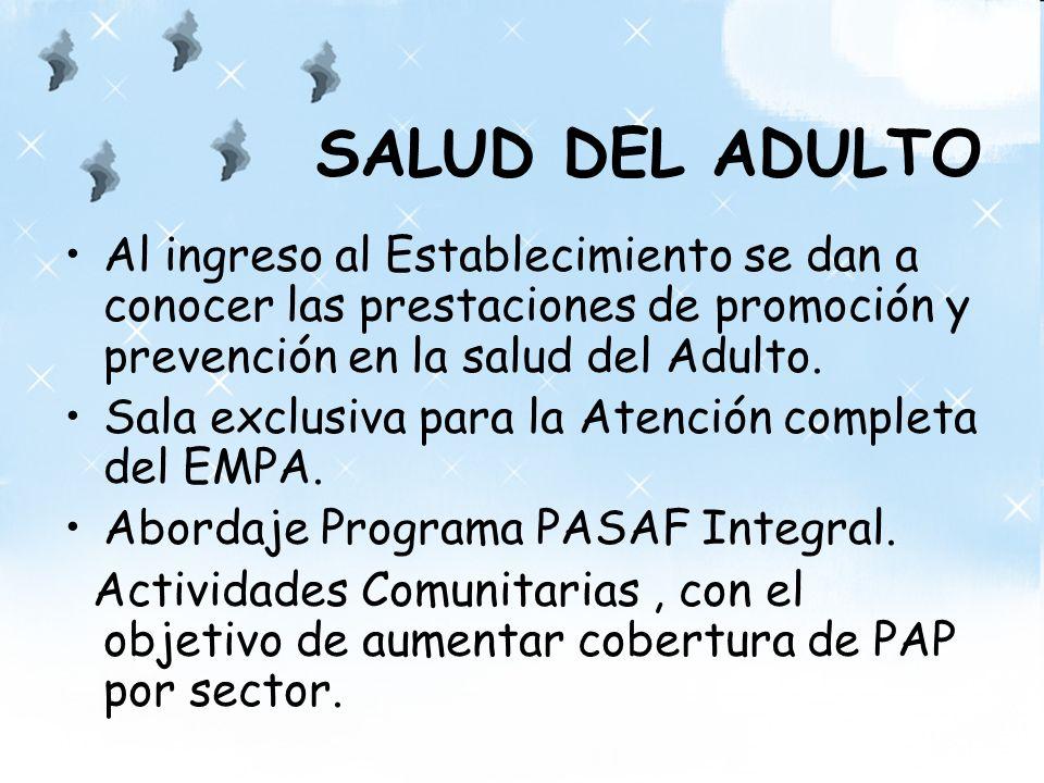 SALUD DEL ADULTO Al ingreso al Establecimiento se dan a conocer las prestaciones de promoción y prevención en la salud del Adulto.