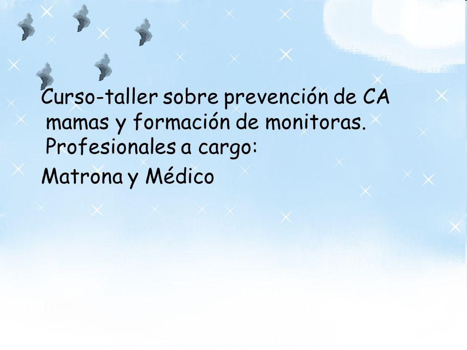 Curso-taller sobre prevención de CA mamas y formación de monitoras