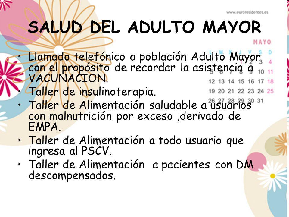 SALUD DEL ADULTO MAYOR Llamado telefónico a población Adulto Mayor con el propósito de recordar la asistencia a VACUNACION.