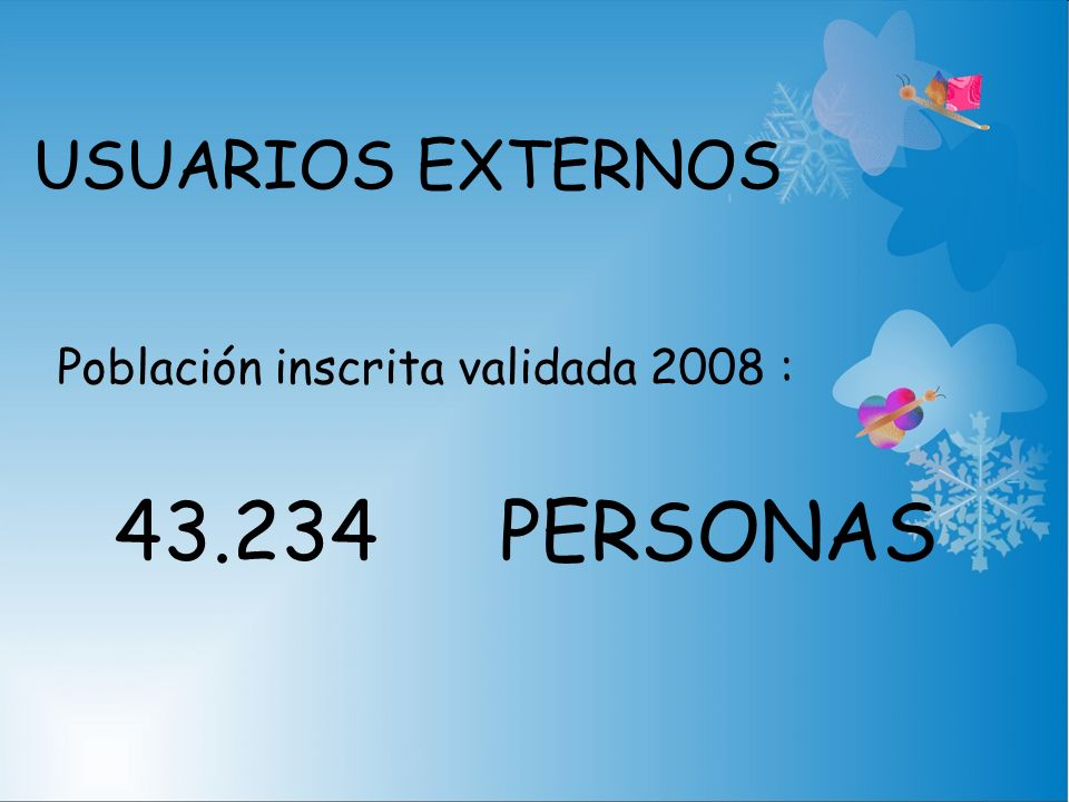 USUARIOS EXTERNOS Población inscrita validada 2008 : 43.234 PERSONAS