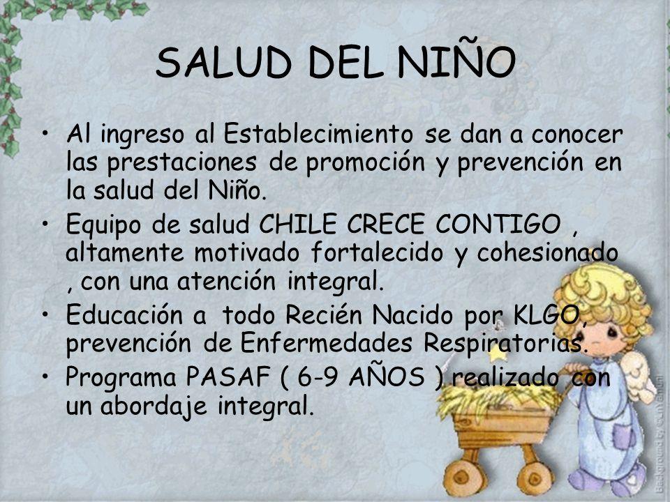 SALUD DEL NIÑO Al ingreso al Establecimiento se dan a conocer las prestaciones de promoción y prevención en la salud del Niño.
