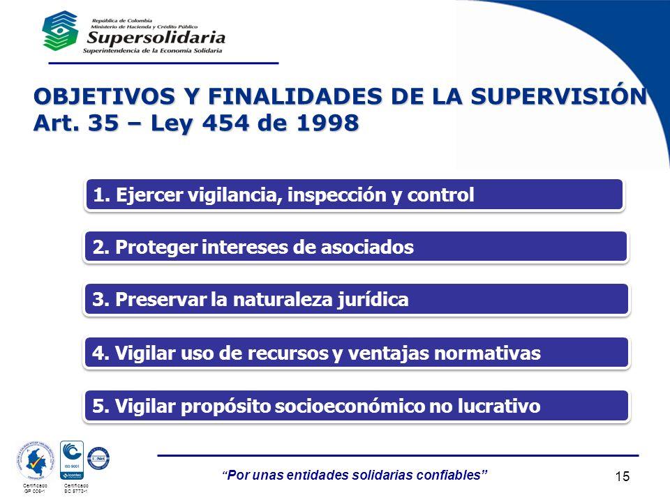 OBJETIVOS Y FINALIDADES DE LA SUPERVISIÓN Art. 35 – Ley 454 de 1998