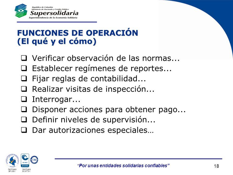 FUNCIONES DE OPERACIÓN (El qué y el cómo)