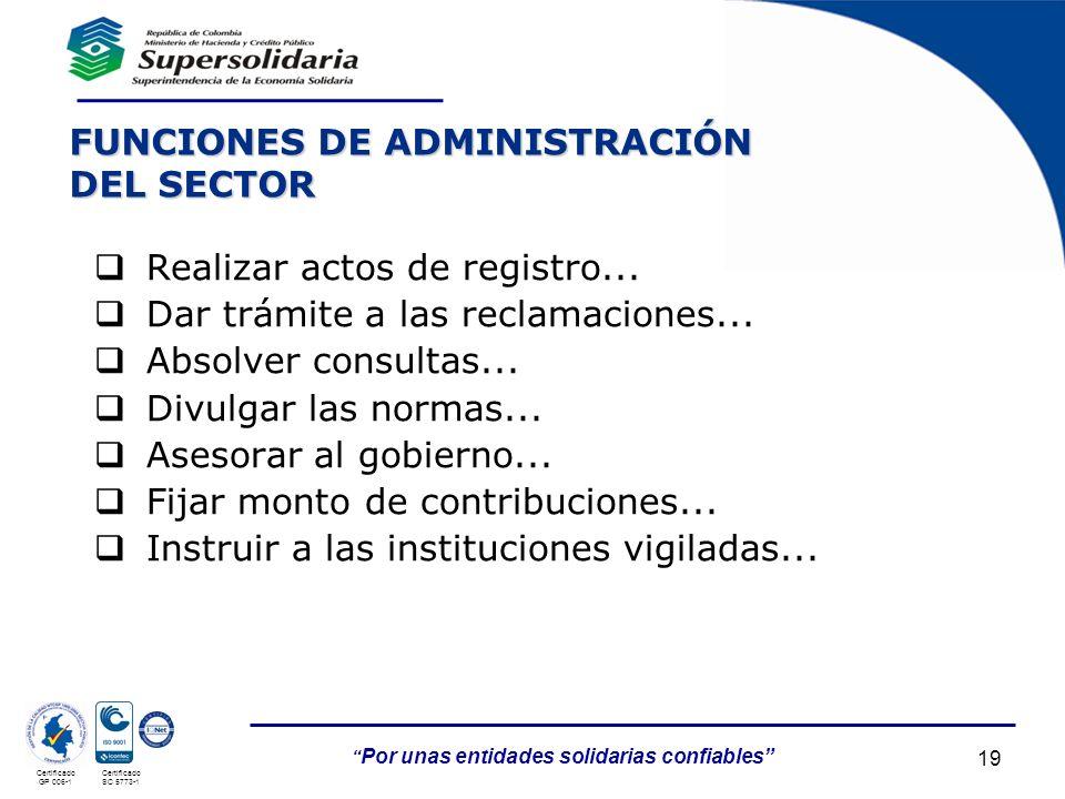 FUNCIONES DE ADMINISTRACIÓN DEL SECTOR