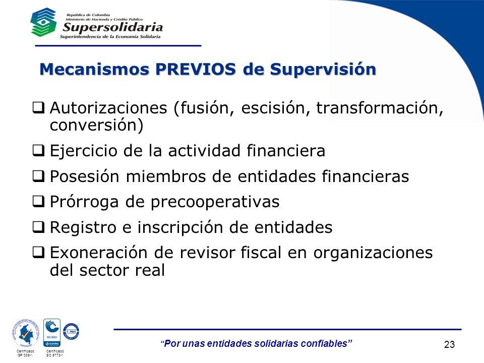 Mecanismos PREVIOS de Supervisión