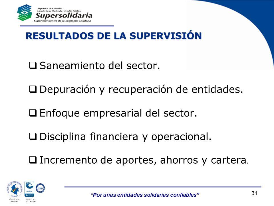 Saneamiento del sector. Depuración y recuperación de entidades.