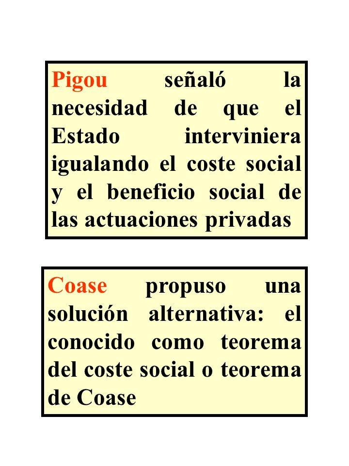 Pigou señaló la necesidad de que el Estado interviniera igualando el coste social y el beneficio social de las actuaciones privadas