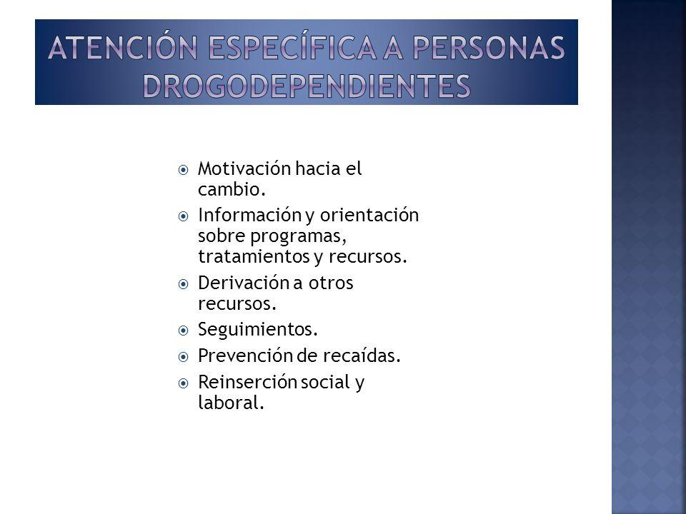 Atención específica a personas drogodependientes