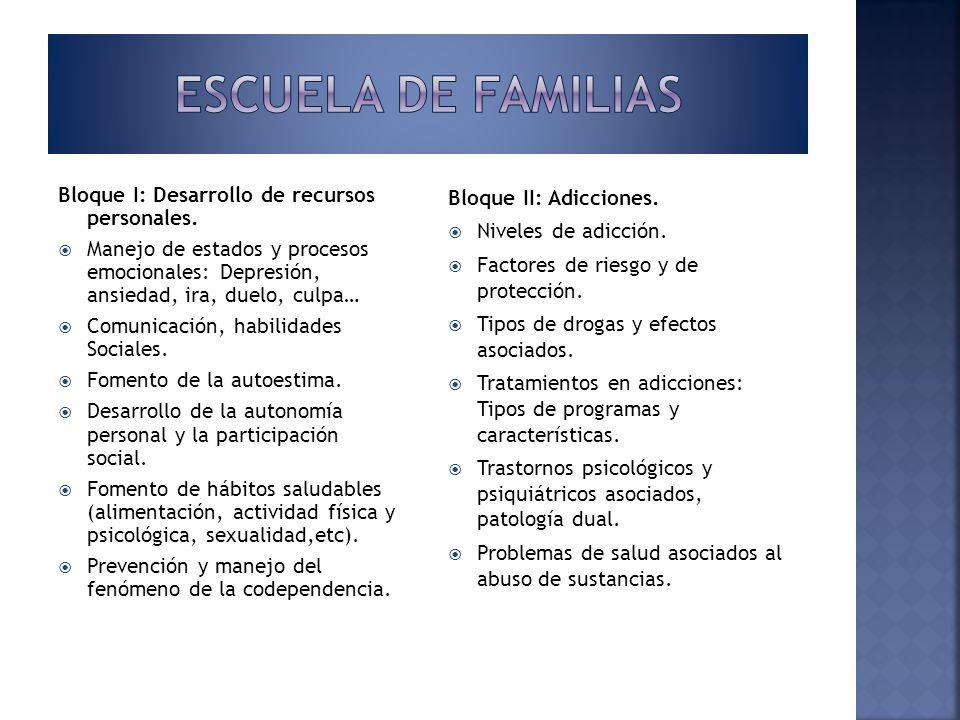 Escuela de familias Bloque I: Desarrollo de recursos personales.
