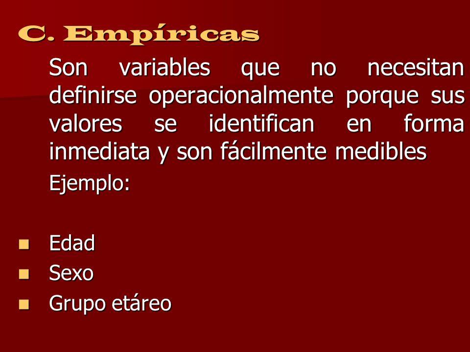 C. Empíricas Son variables que no necesitan definirse operacionalmente porque sus valores se identifican en forma inmediata y son fácilmente medibles.