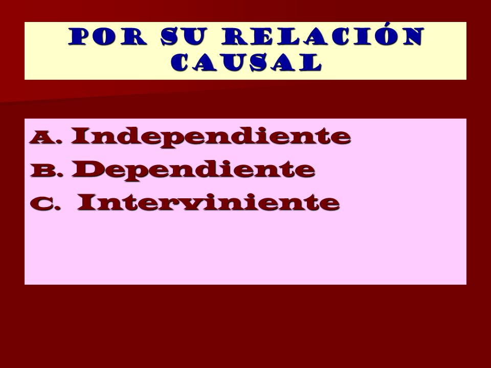 Por su relación causal Independiente Dependiente Interviniente